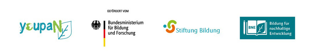 Logos - youpaN, Bundesministerium für Bildung und Forschung, Stiftung Bildung, Bildung für Nachhaltige Entwicklung